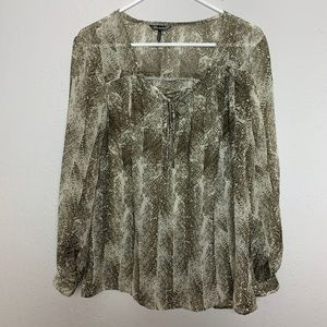 Daisy Fuentes L Brown Animal Print Loose Fit Top